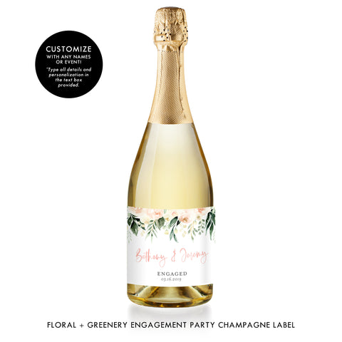 Floral + Greenery Engagement Champagne Labels Coll. 2
