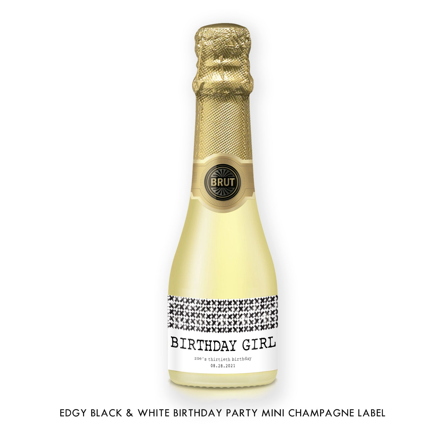 Edgy Black & White Birthday Party Champagne Labels Coll. 7