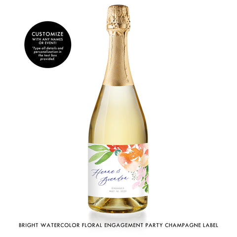 Bright Watercolor Floral Engagement Champagne Labels Coll. 9