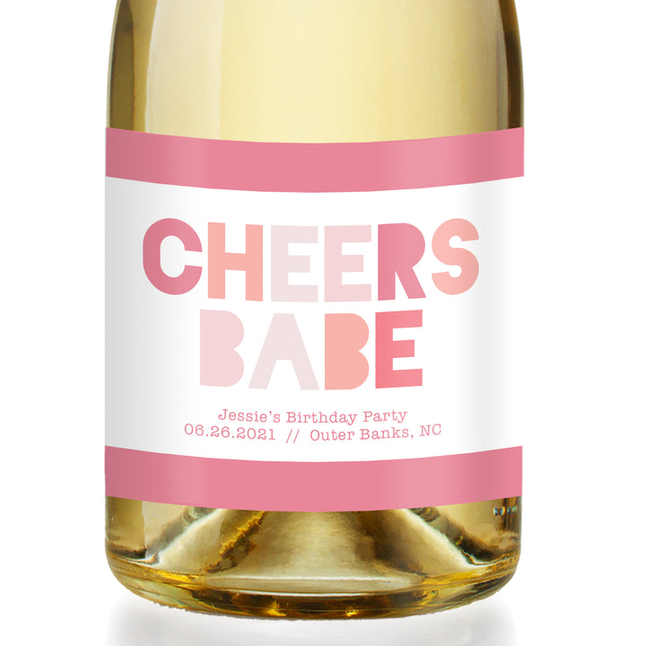 Cheers Babe Birthday Party Champagne Label