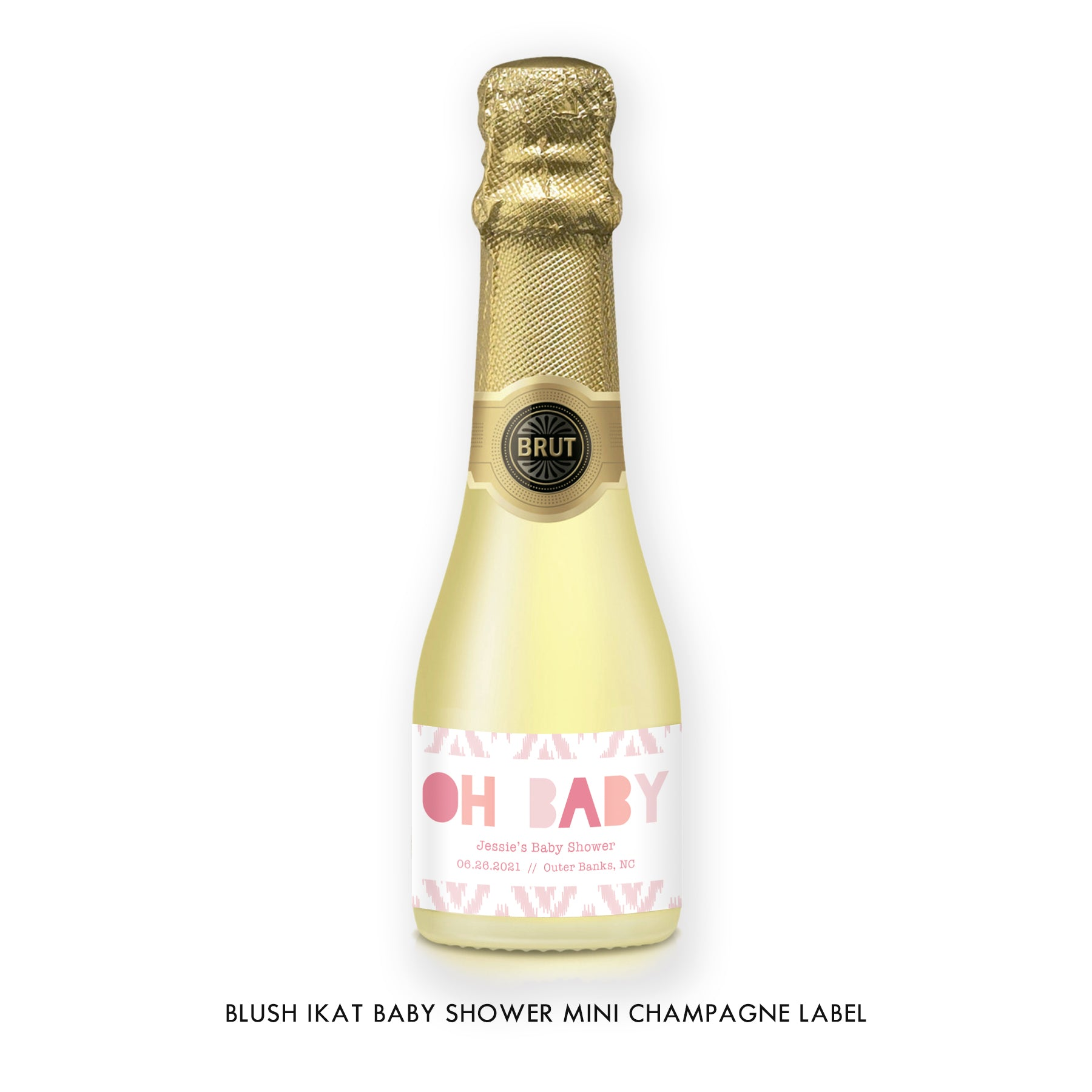 Blush Ikat Baby Shower Champagne Labels Coll. 12