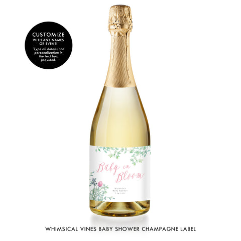 Greenery Baby Shower Champagne Label