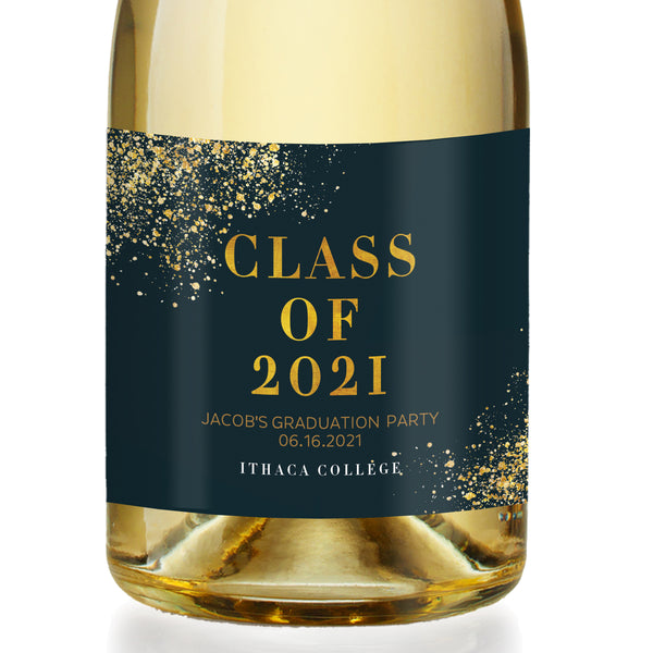 Classic Black & Gold Graduation Champagne Labels Coll. 25