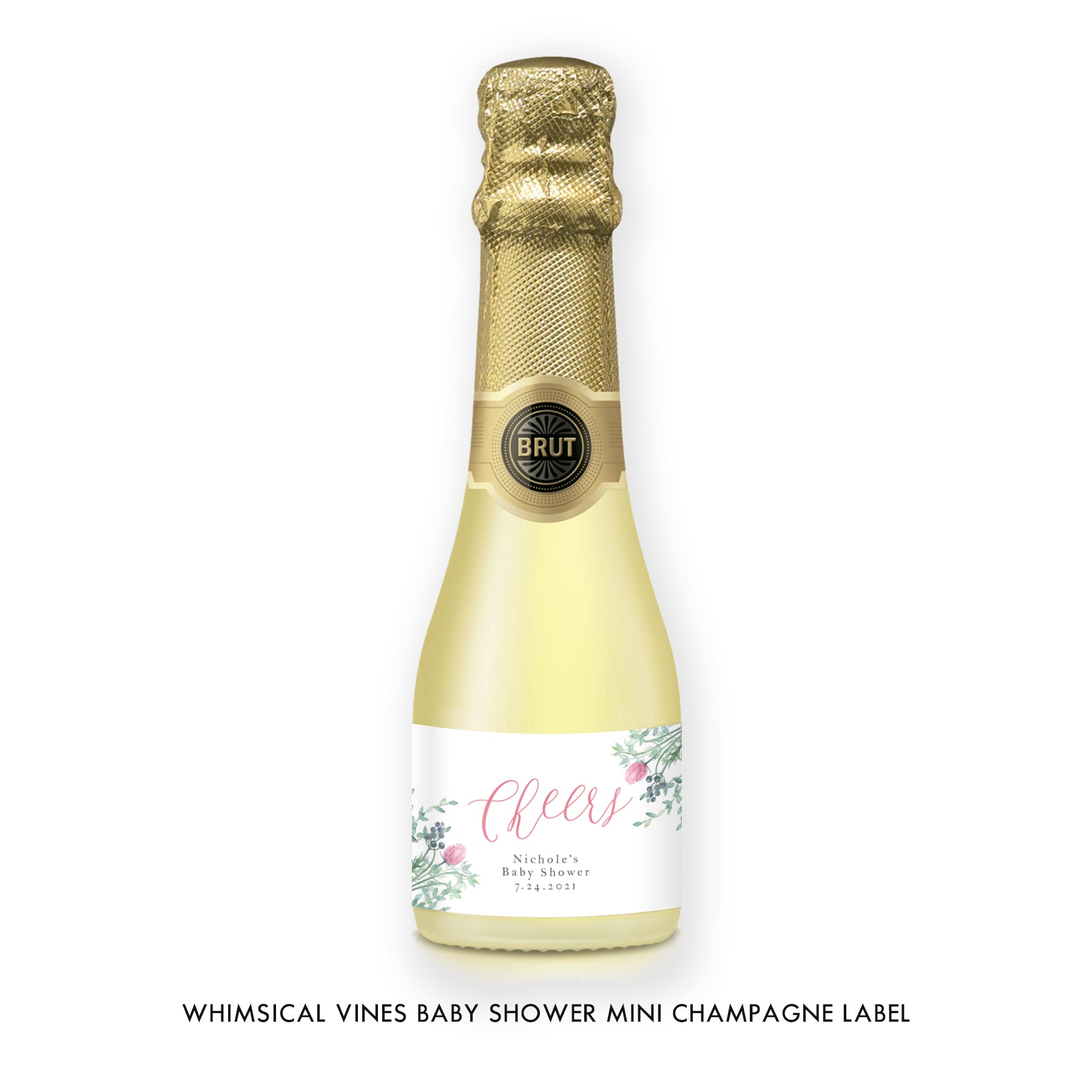 Cheers Baby Shower Mini Champagne Label
