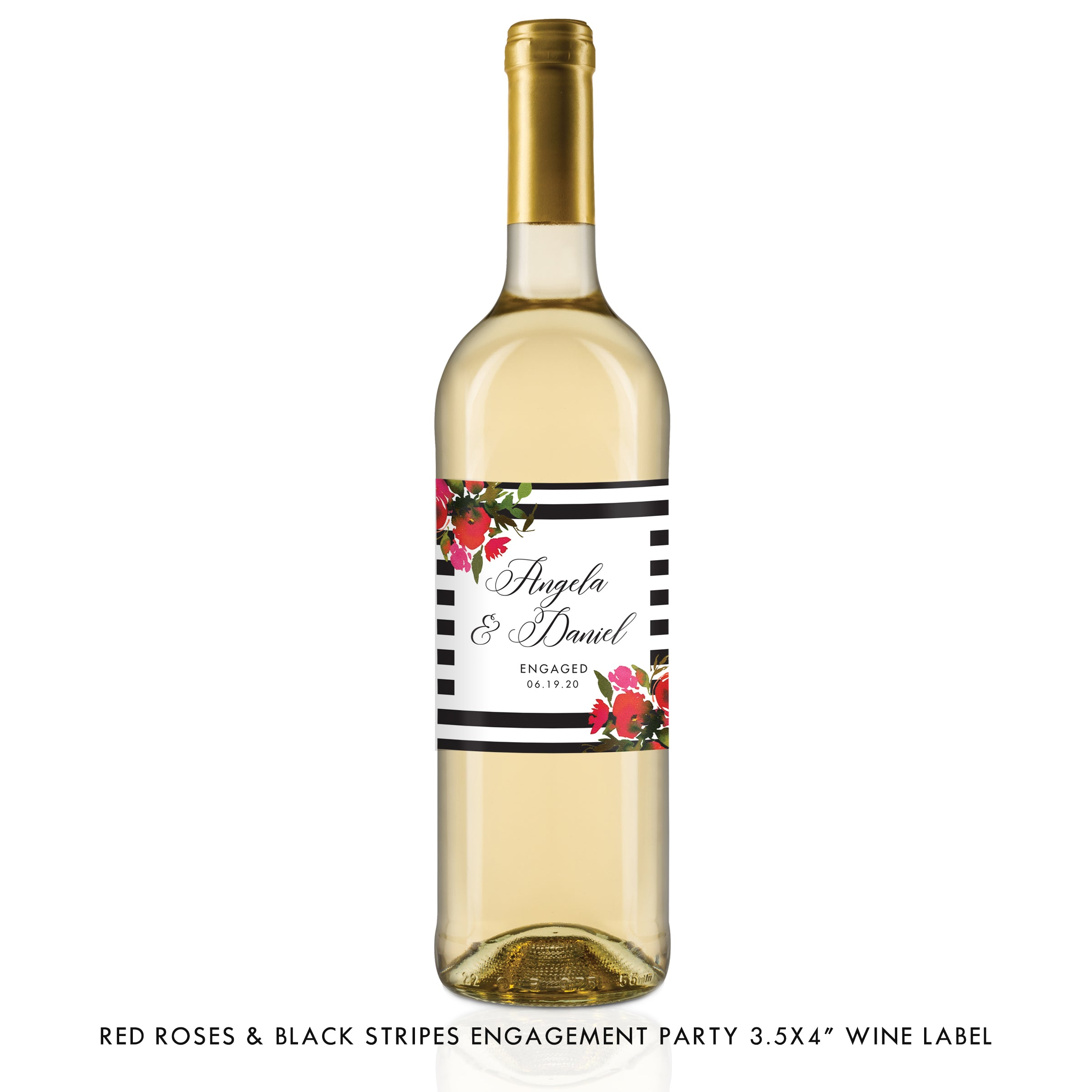 Red Roses & Black Stripes Engagement Wine Labels Coll. 1B