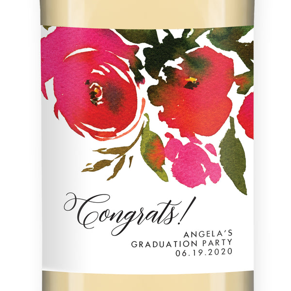 Red Roses Graduation Wine Labels Coll. 1B