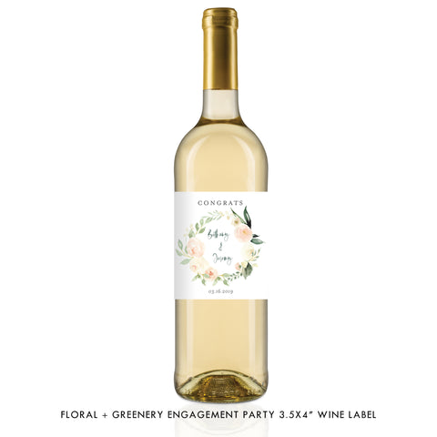 Floral + Greenery Engagement Wine Label Coll. 2