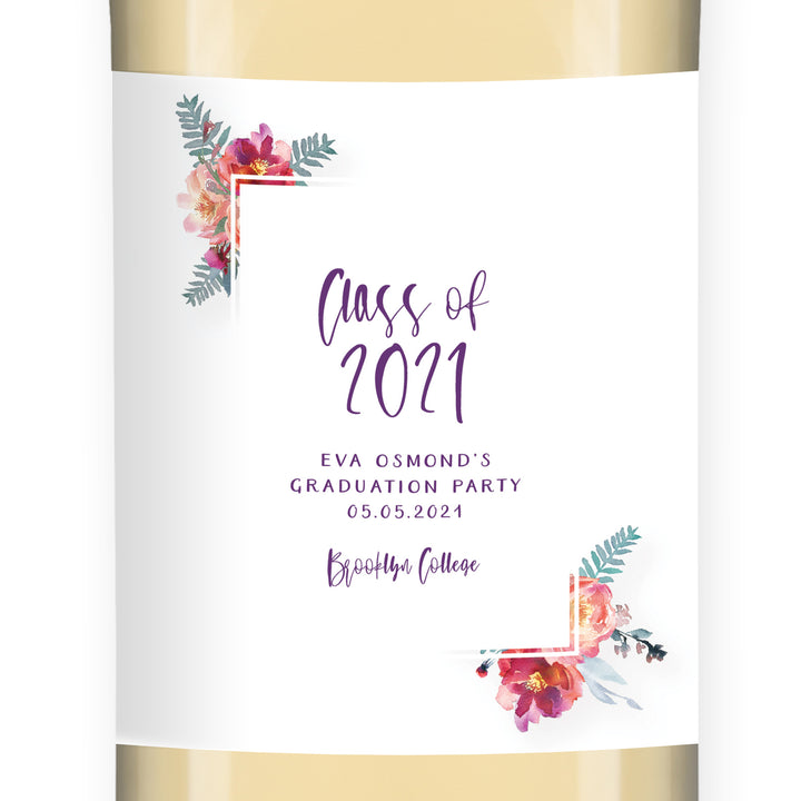 Floral Graduation Wine Label
