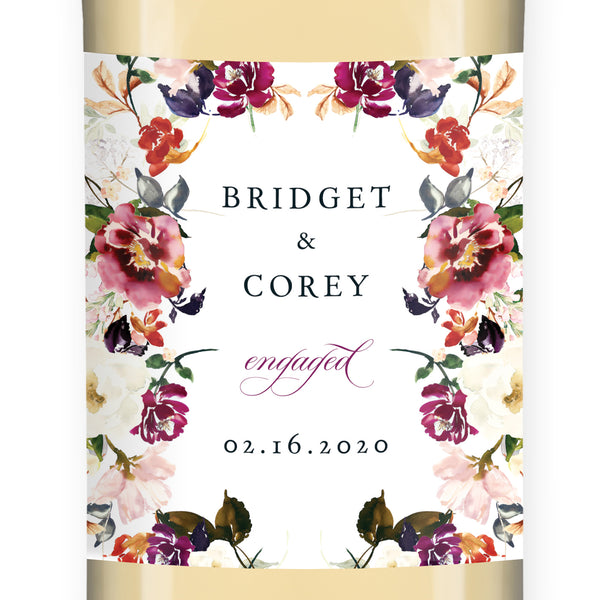 Romantic Floral Engagement Wine Label Coll. 6