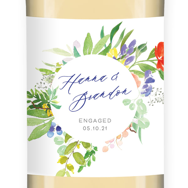 Bright Watercolor Floral Engagement Wine Label Coll. 9