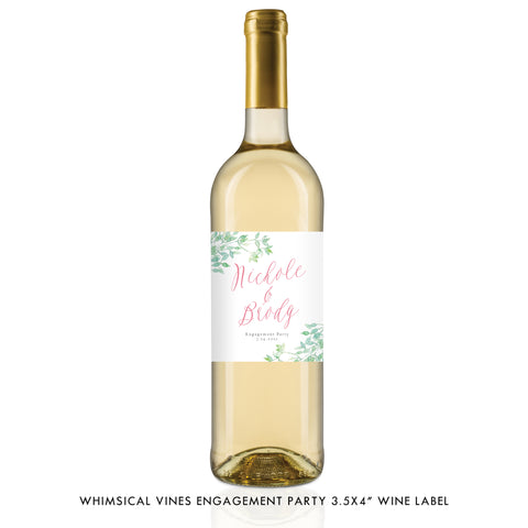 Greenery Engagement Party Wine Label