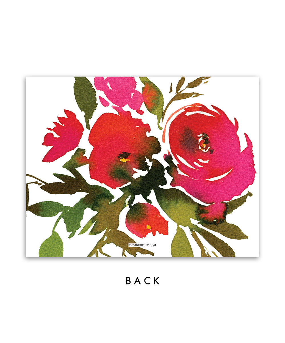 Red Roses personalized stationery in red and pink watercolor floral patterned back side