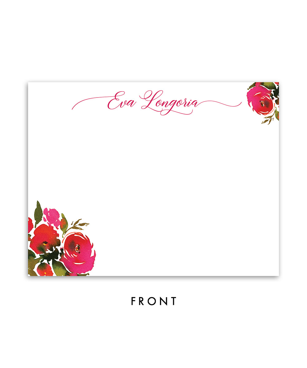 Red Roses Personalized Stationery in red and pink watercolor floral front