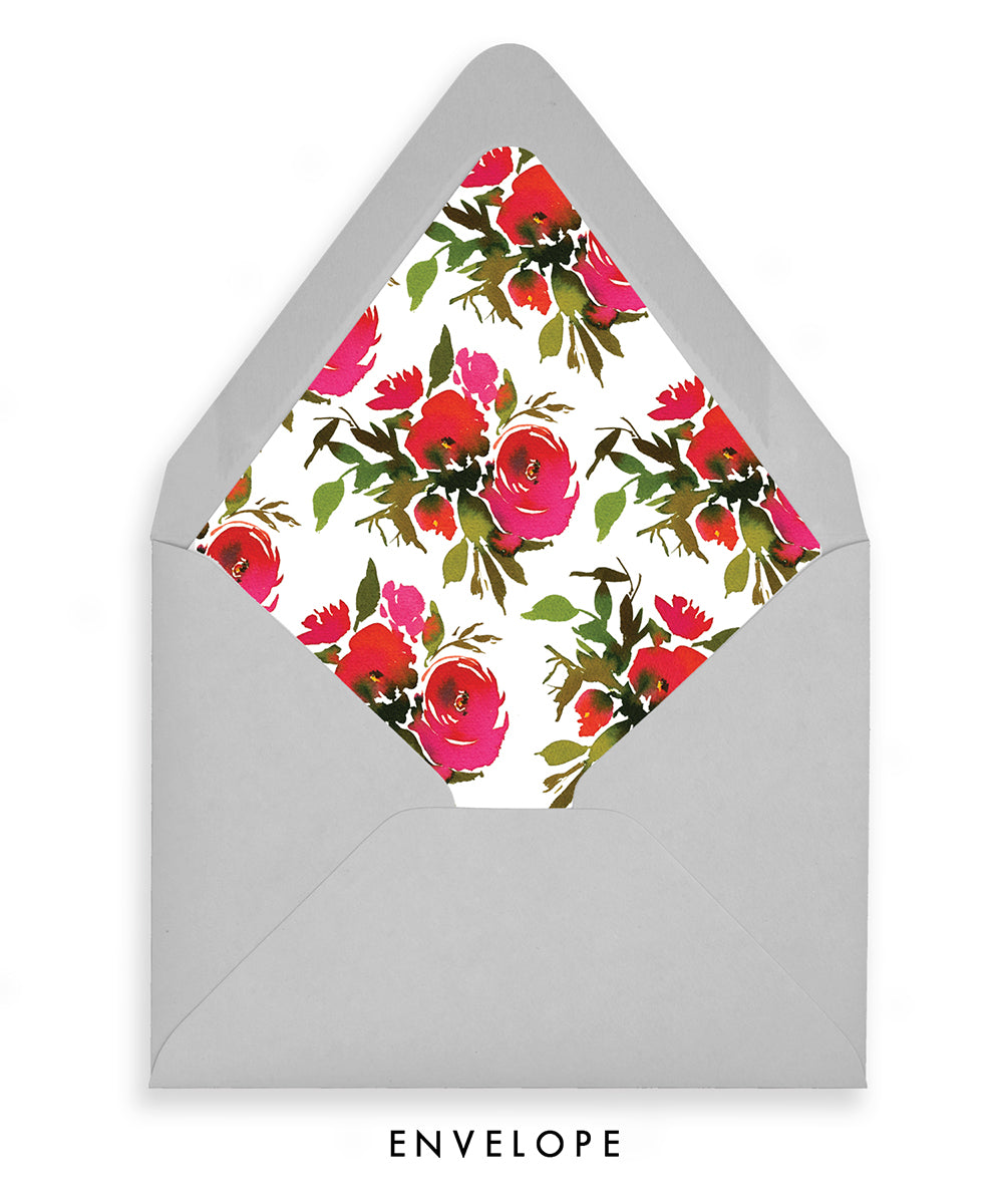 luxe gray envelope with red roses floral envelope liner