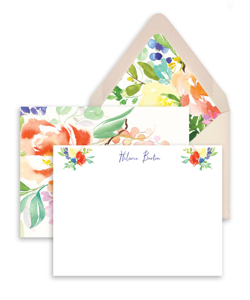 Bright Watercolor Floral Personalized Stationery