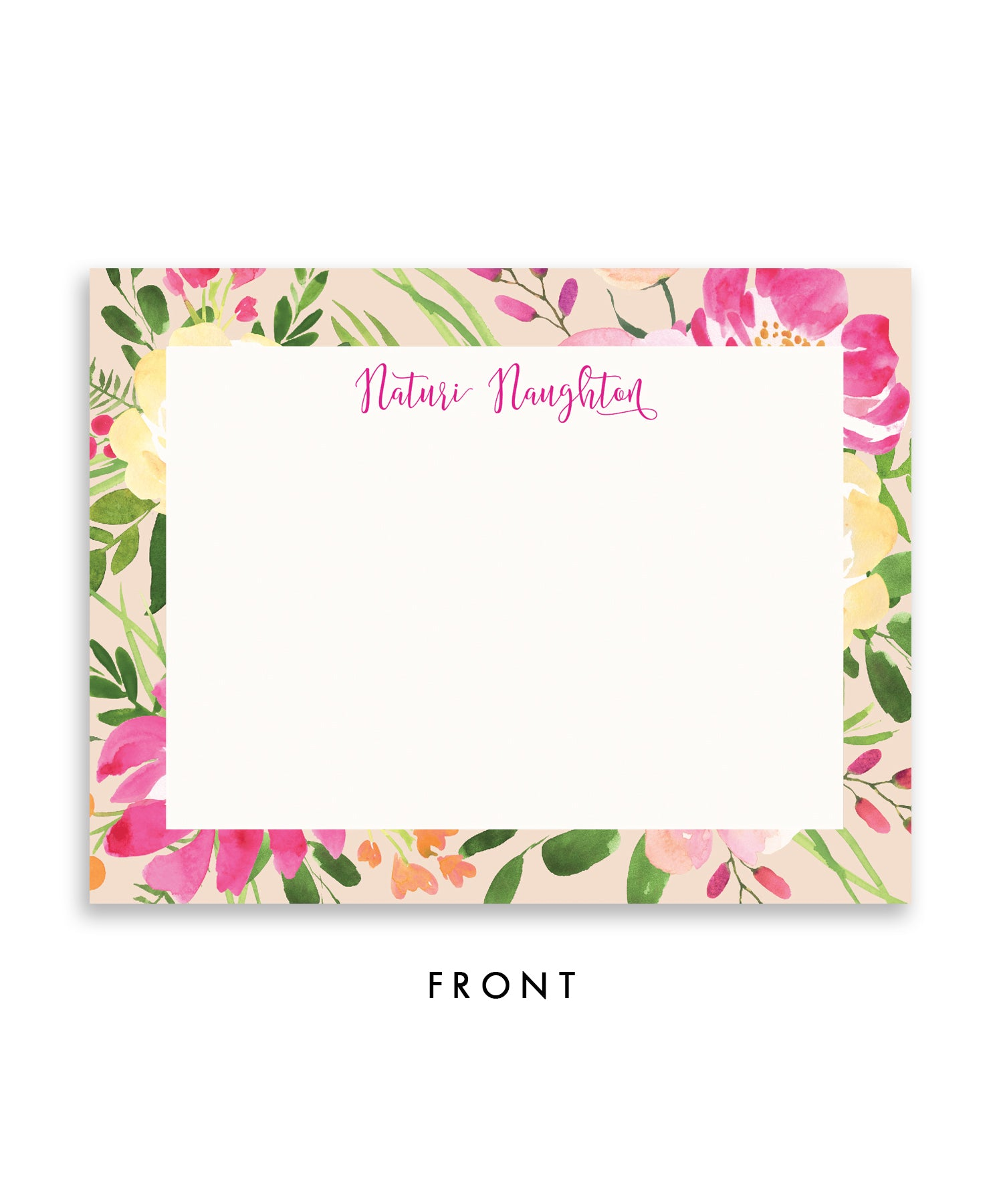 Pink & Green Floral Personalized Stationery