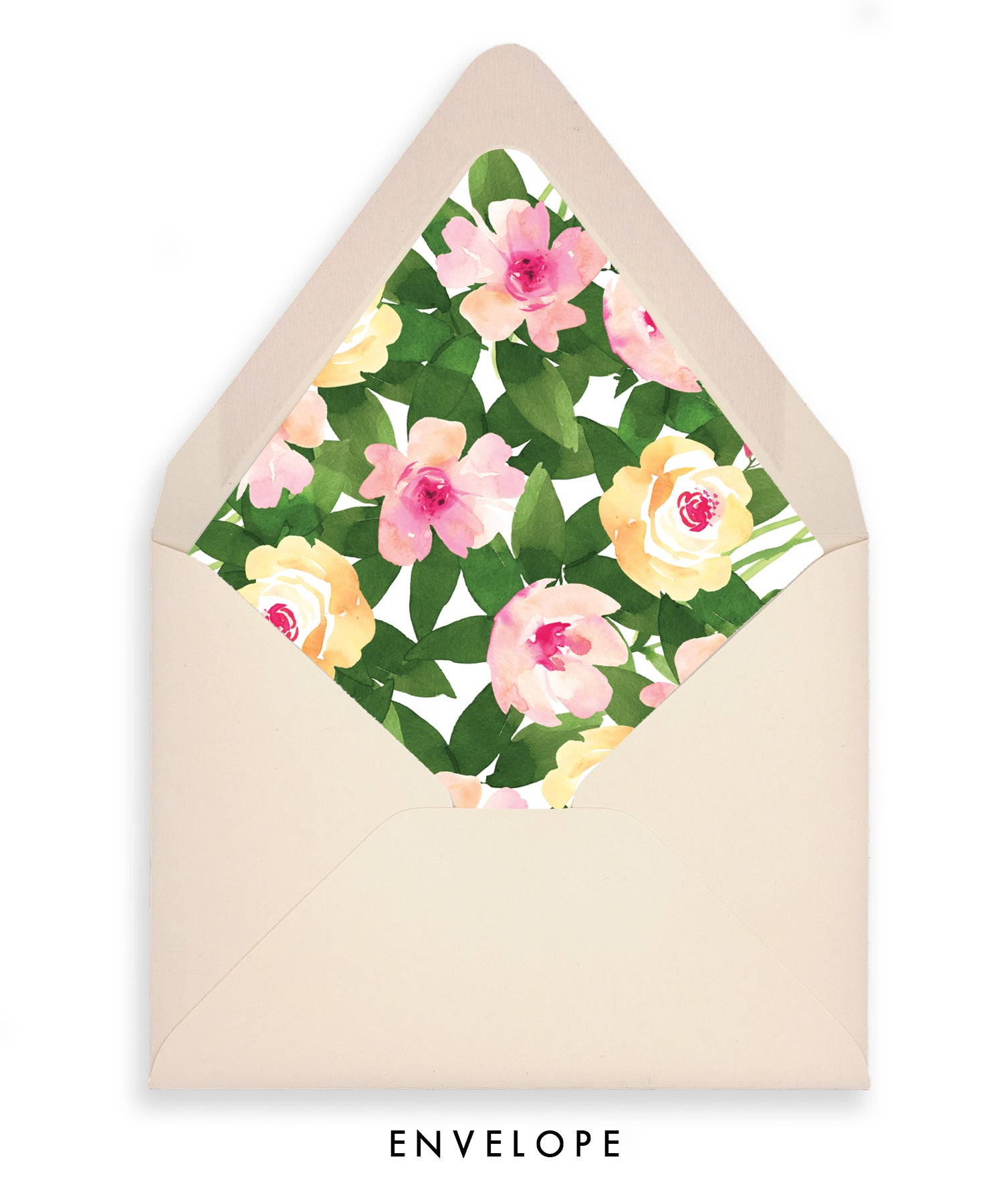 Pink & Green Floral Personalized Stationery Coll. 15