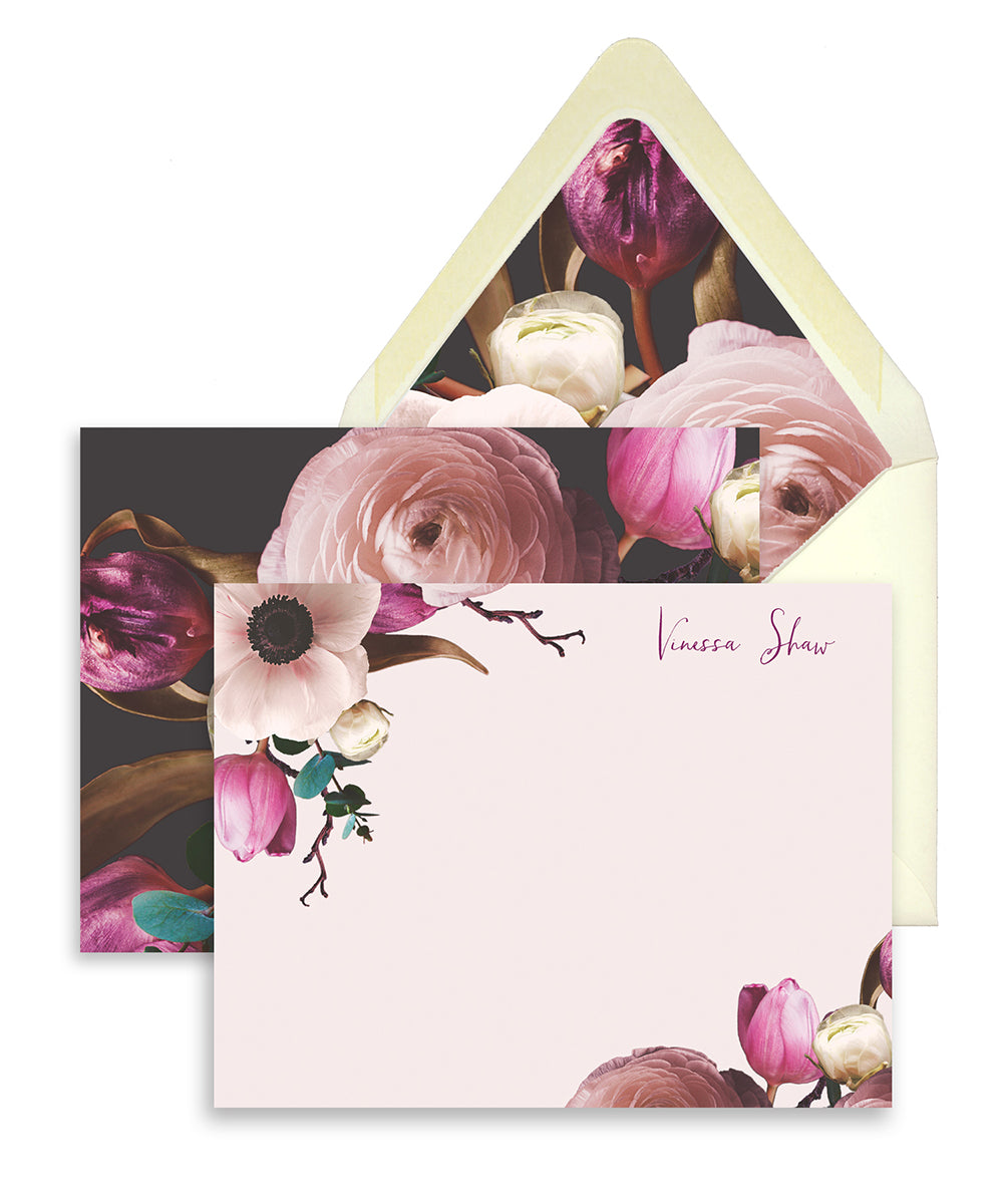 Vintage Purple Floral Personalized Stationery