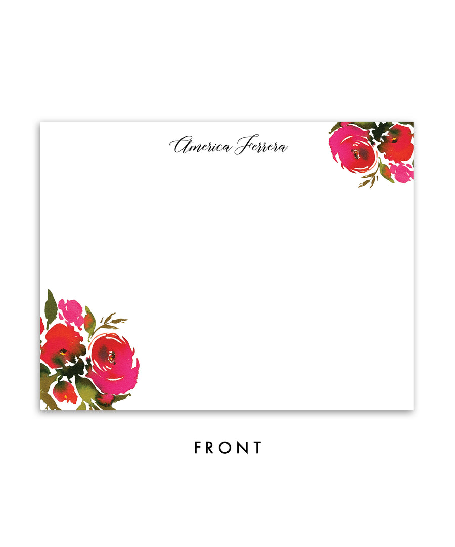 Red Roses & Black Stripes Personalized Stationery Coll. 1B
