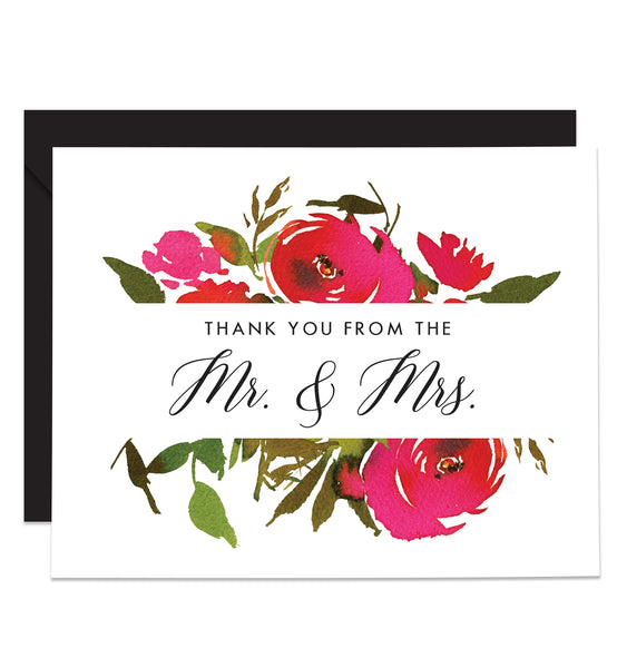 Red Roses Newlyweds Thank You Cards Coll. 1B