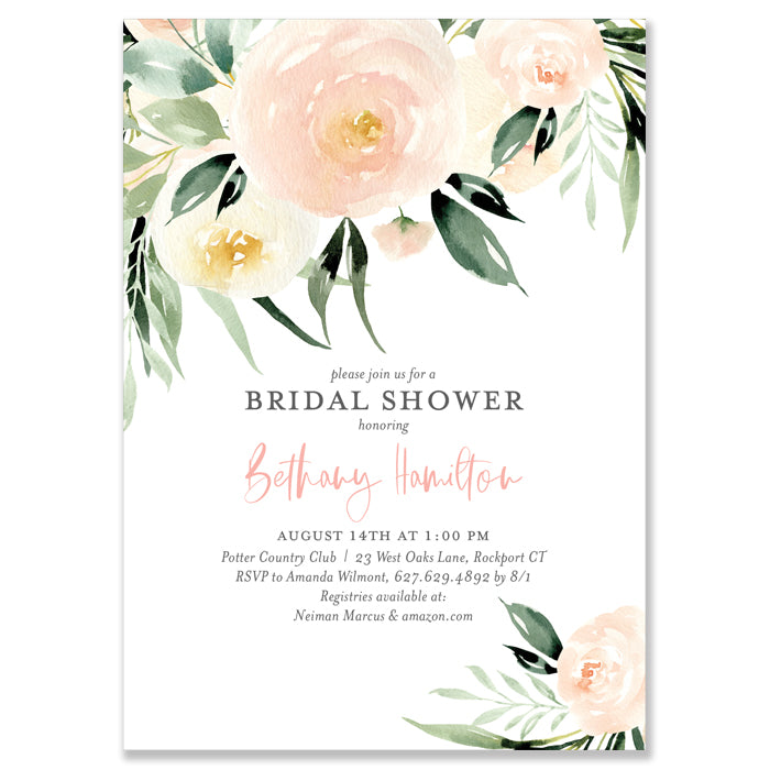 Floral with Greenery Bridal Shower Invitation