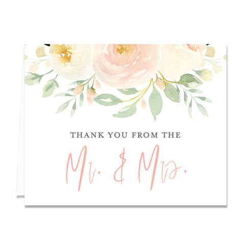 Floral + Greenery Newlyweds Thank You Cards Coll. 2