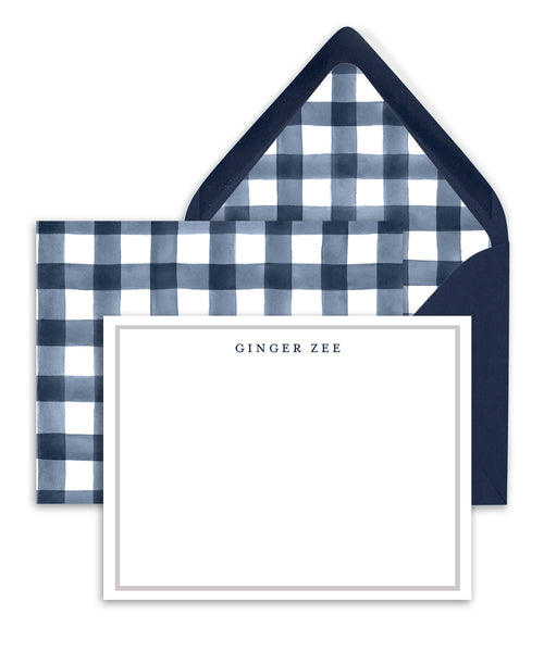 Navy Plaid Gingham Personalized Stationery