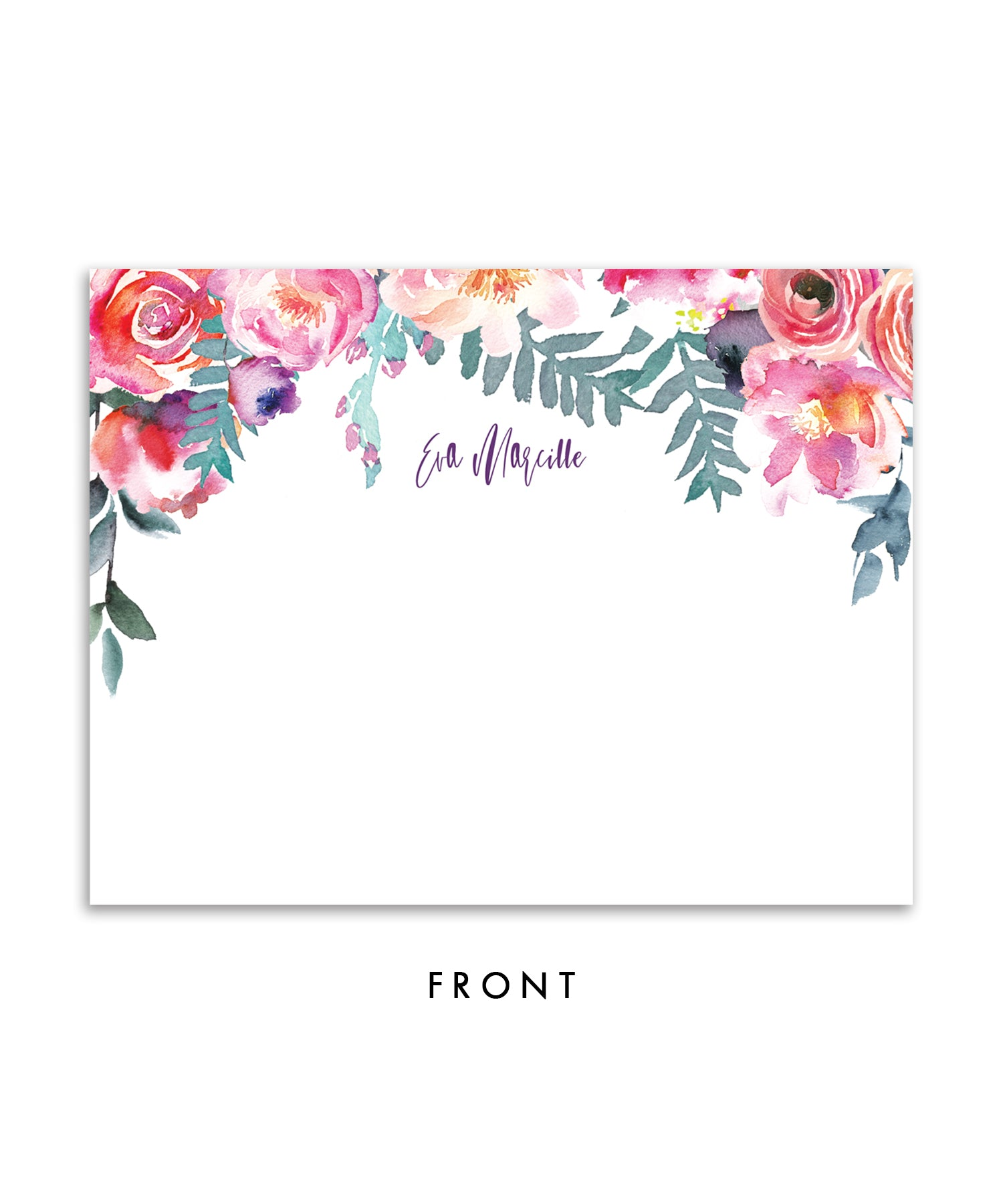 Purple Watercolor Florals Personalized Stationery Coll. 4