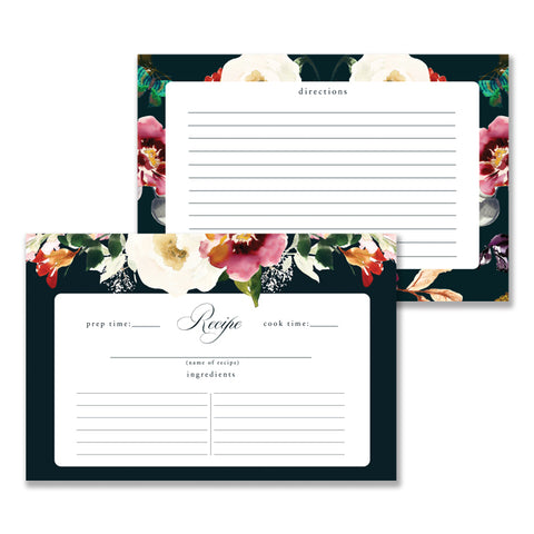 Romantic Floral Recipe Cards Gift Set  |  Coll. 6