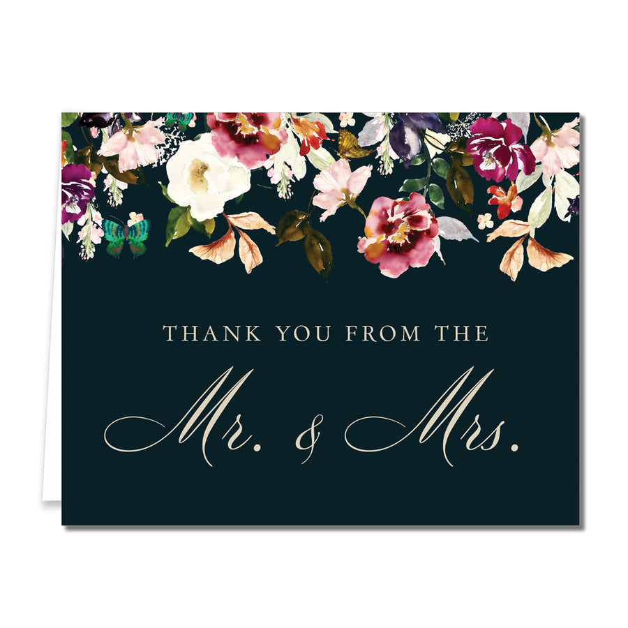 Romantic Floral Newlyweds Thank You Cards Coll. 6