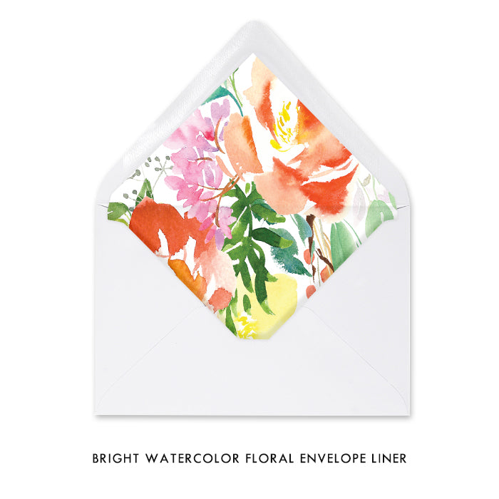 Bright Watercolor Floral Rehearsal Dinner Invitation Coll. 9