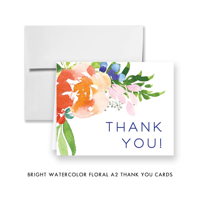 Bright Watercolor Floral Thank You Card Coll. 9