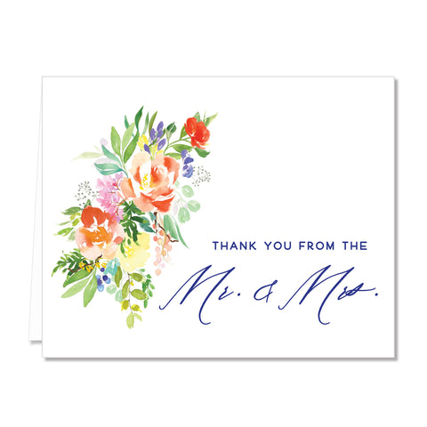 Bright Watercolor Floral Newlyweds Thank You Cards Coll. 9