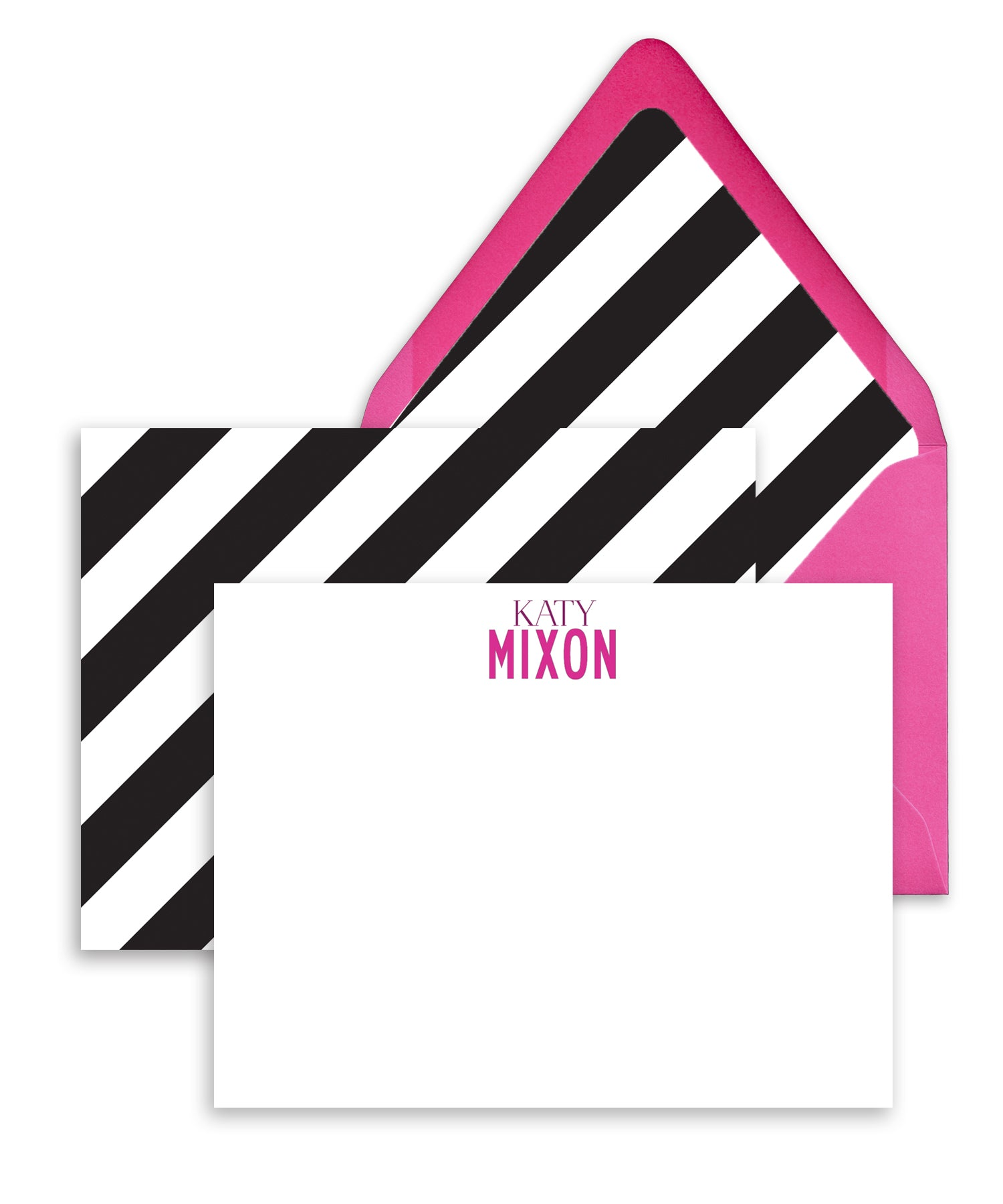 Black and White Striped Personalized Stationery
