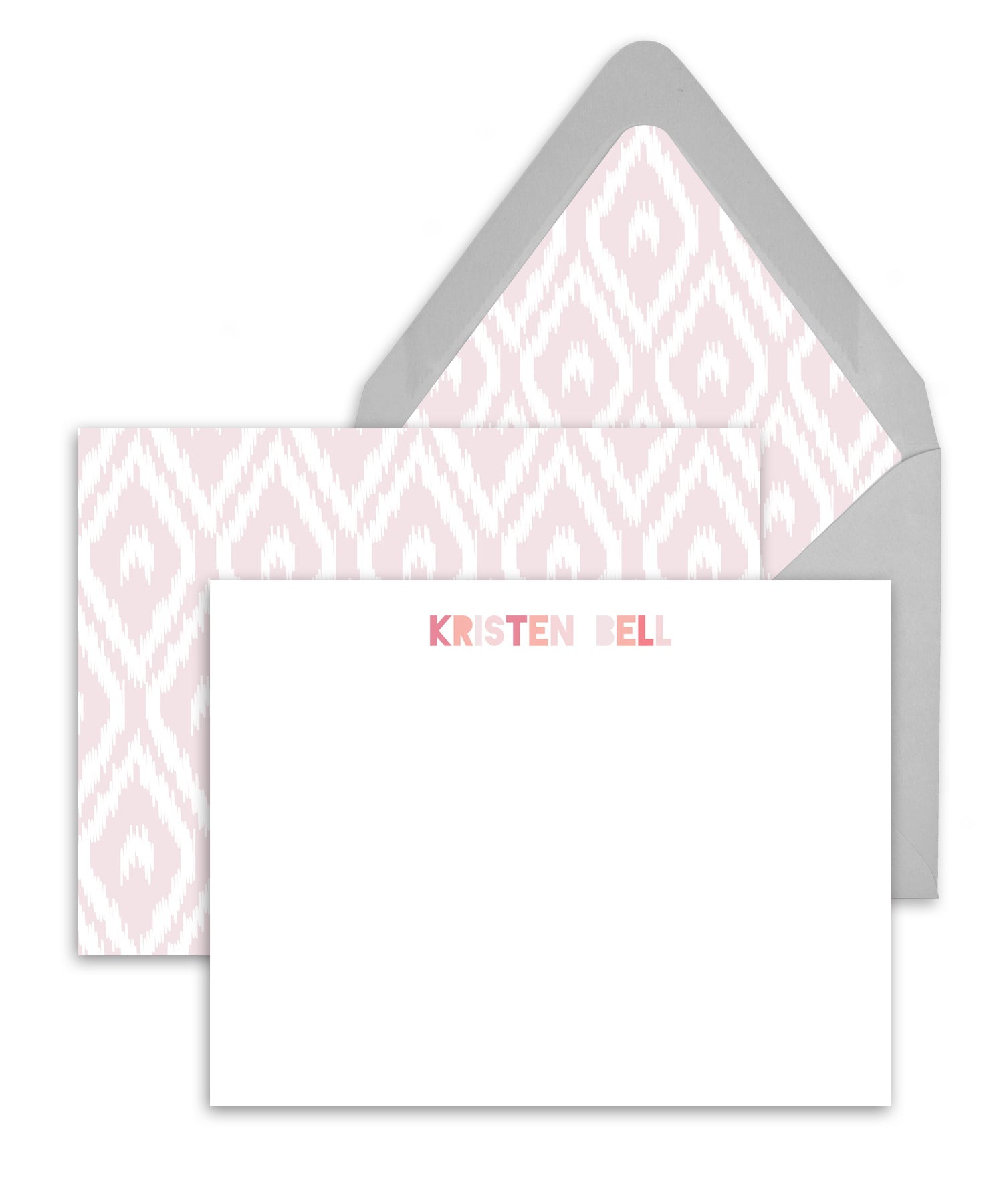 Blush Ikat Indonesian Pattern Personalized Stationery