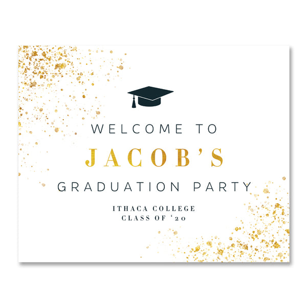 Classic Black & Gold Graduation Party Sign Coll. 25