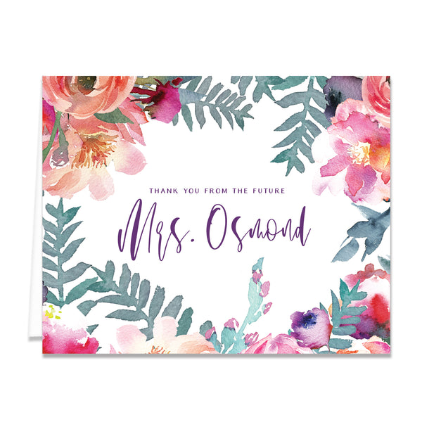 Purple Watercolor Florals Bridal Thank You Card Coll. 4