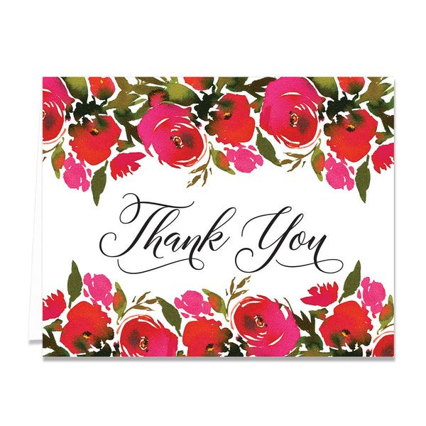 Red Roses Thank You Card Coll. 1B