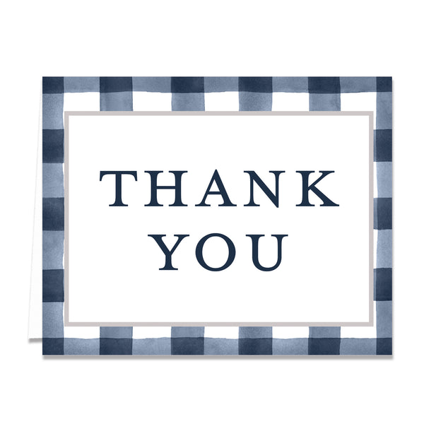 Navy Gingham Thank You Card Coll. 3