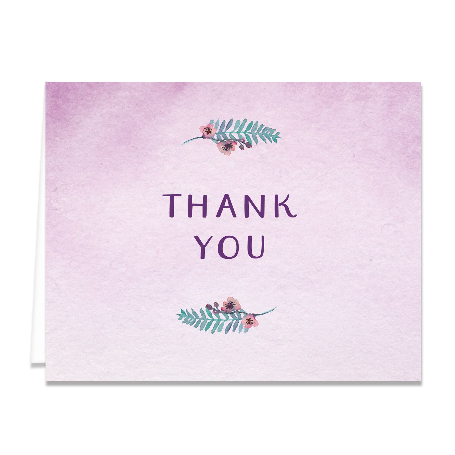 Purple Watercolor Florals Thank You Card Coll. 4