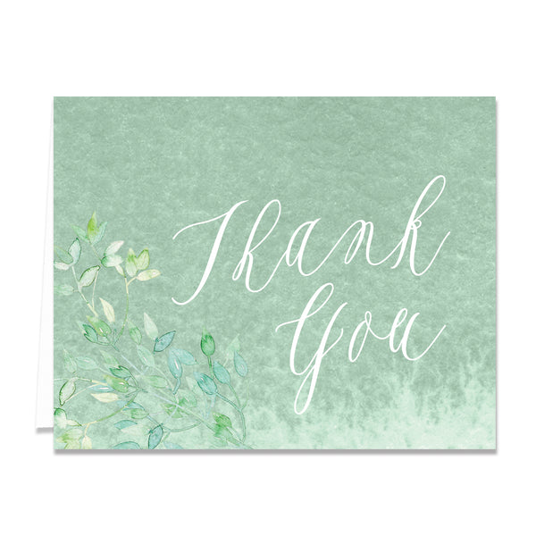 Watercolor Greenery Thank You Cards