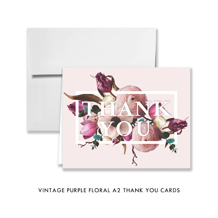 Vintage Purple Floral Thank You Card Coll. 17