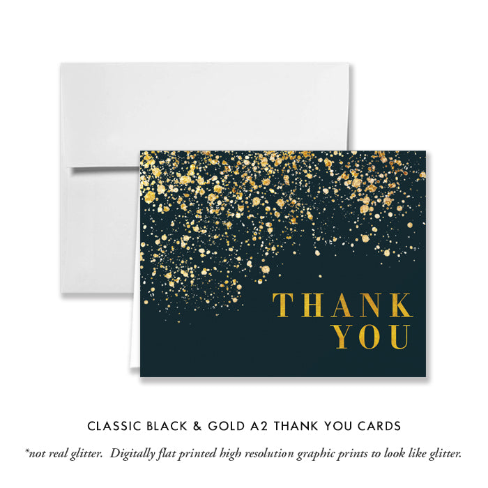 Classic Black & Gold Thank You Card Coll. 25