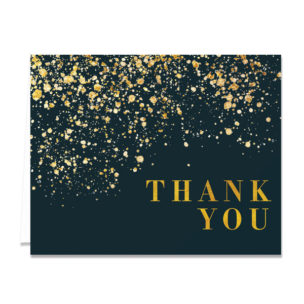 Black & Gold Folded Thank You Cards