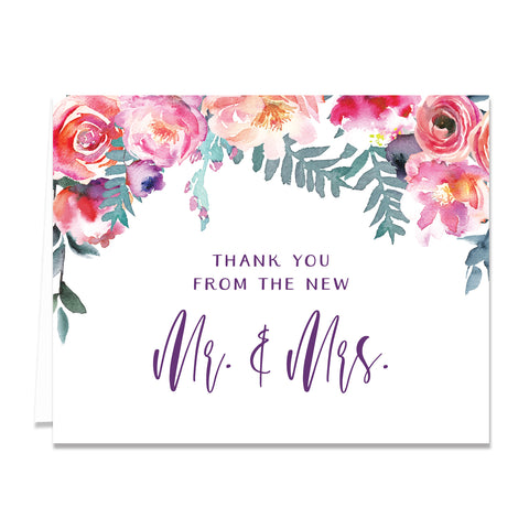 Purple Watercolor Florals Newlyweds Thank You Cards Coll. 4
