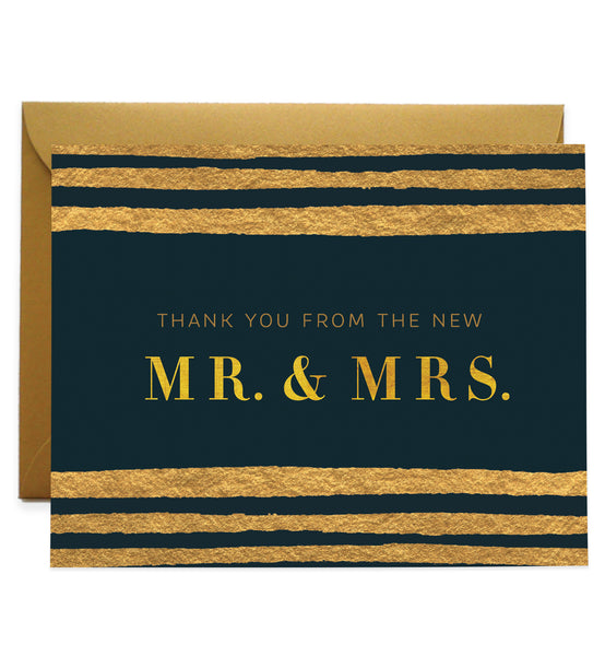 Classic Black & Gold Newlyweds Thank You Cards | Coll. 25