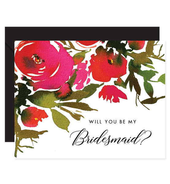 Folded Bridesmaid Proposal Card with Black Envelopes
