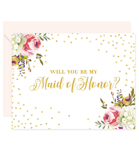 Watercolor Florals + Glitter Dots Will You Be My Bridesmaid? Card