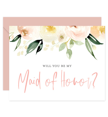 Floral Bridesmaid Proposal Card with Envelope