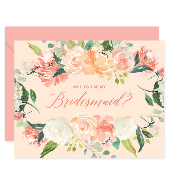 Peach Floral Bridesmaid Proposal Card